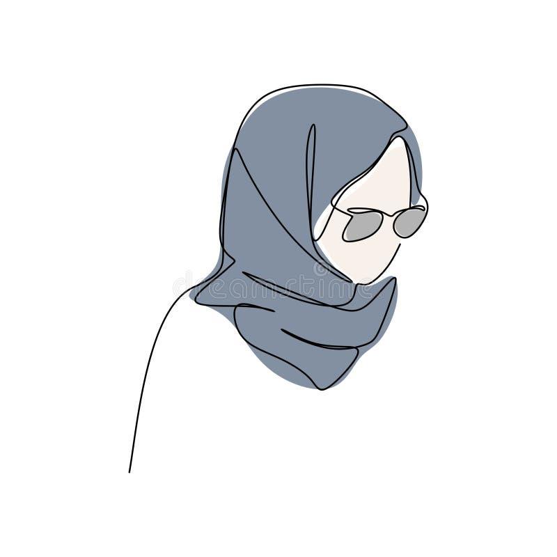 Ununterbrochenes unbedeutender Entwurf modernes Mädchen tragendes hijab Mode eine der Federzeichnung vektor abbildung