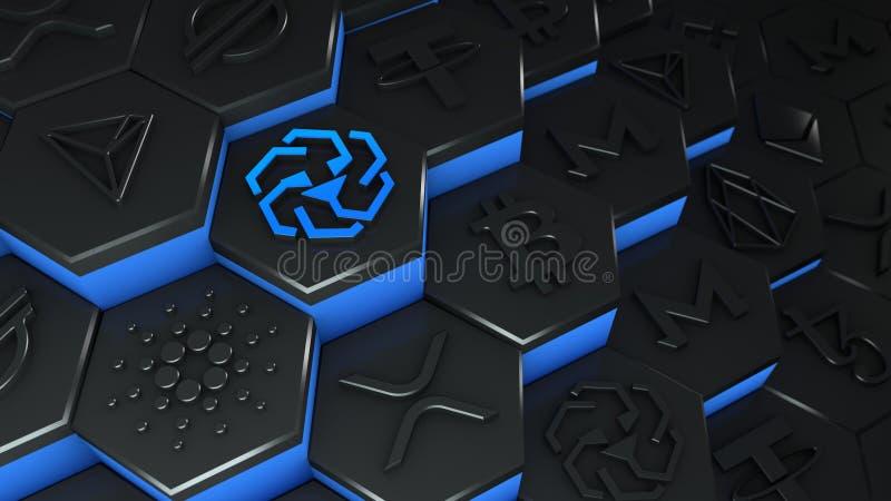 UNUS SED moeda de LEO abstrata criptomoeda com conexão de rede de cadeia de bloqueio na ilustração conceitual 3d de cadeia de blo ilustração royalty free