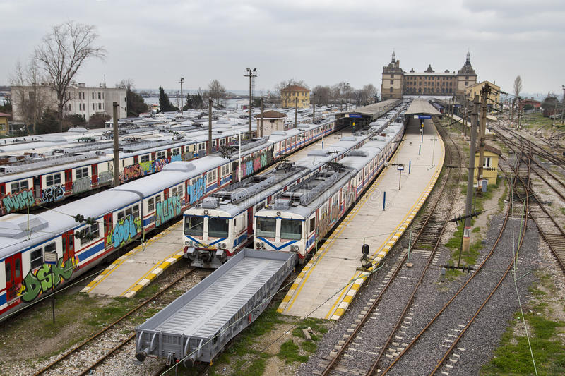 Unused old graffiti trains on disused line at Haydarpasa train station in Istanbul royalty free stock photography