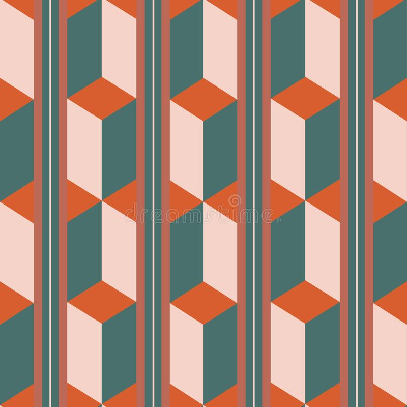 Free Unusual 3d Effect Rectangle Block And Stripe Design In Teal, Orange And Pastel Pink. Seamless Isometric Vector Pattern Royalty Free Stock Photos - 160117818
