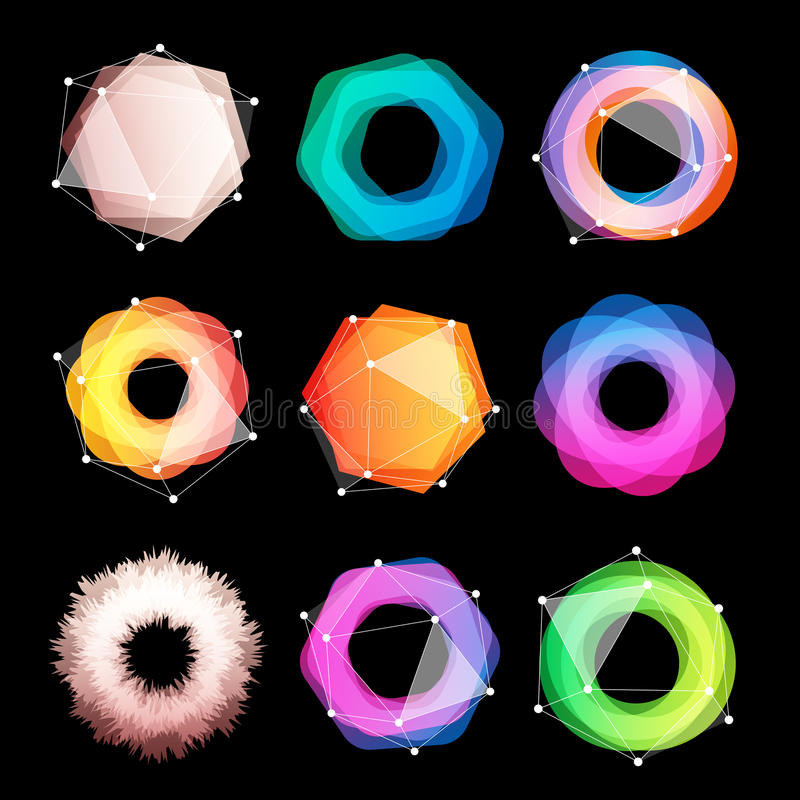 Unusual abstract geometric shapes vector logo set. Circular, polygonal colorful logotypes collection on the black vector illustration