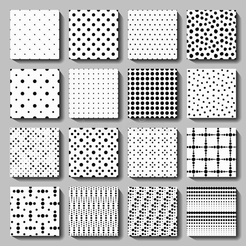 Unusual black white polka dot pattern set vector illustration