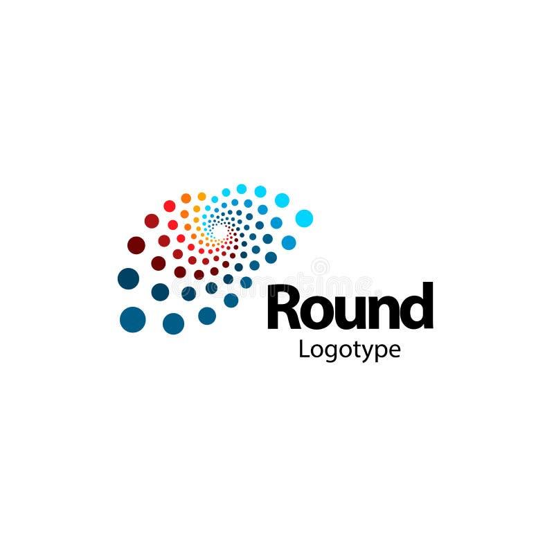 Unusual brain, circular abstract logo. New digital technology round logotype. Computer innovation sign. Circle vector royalty free illustration