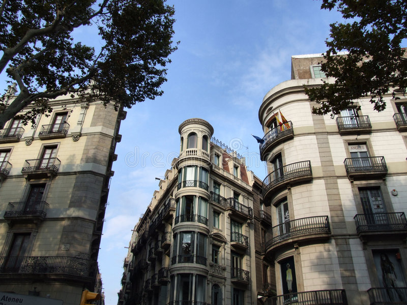 Unusual building in Barcelona centre royalty free stock photo