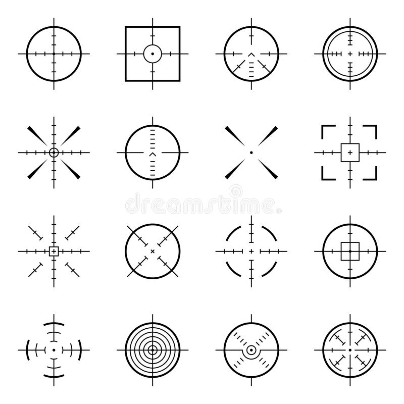 Unusual bullseye, accurate focus symbols. Precision aims, shooter target vector icons. Illustration of accuracy center, accurate target, aim to bullseye stock illustration
