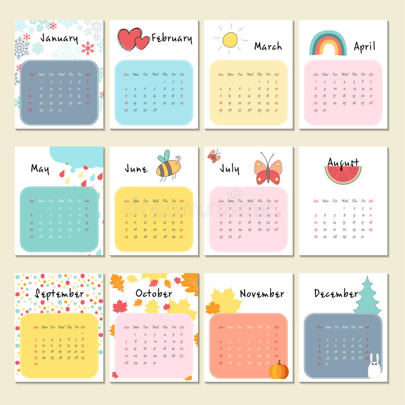 Cute Calendar Illustration : Unusual cute calendar for stock vector illustration