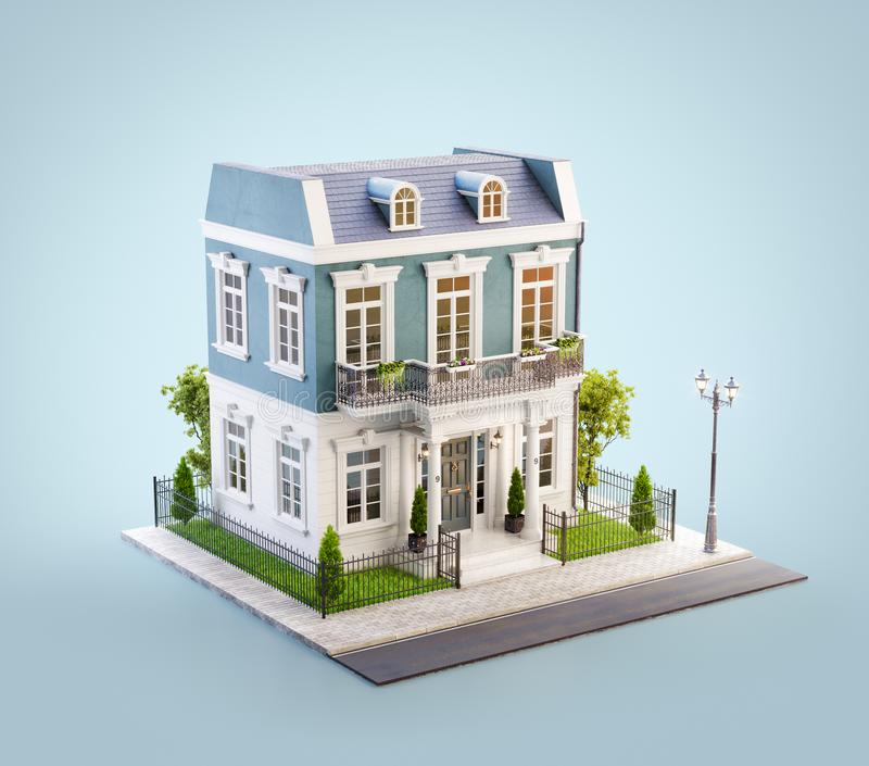 Unusual 3d illustration of a beautiful house with. White entrance, lawn and small cute garden at the road in nice neighborhood stock illustration