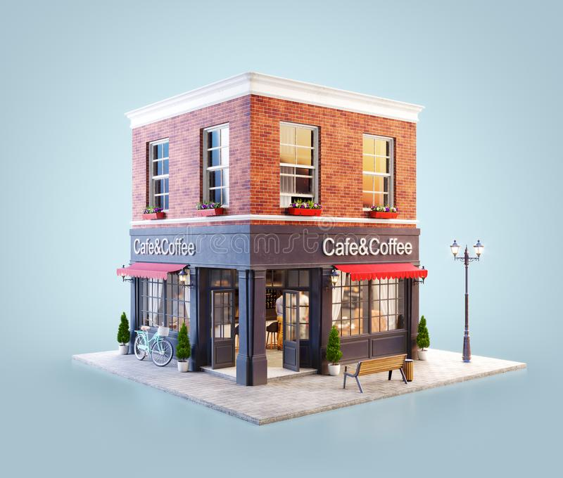 Unusual 3d illustration of a cozy cafe stock illustration
