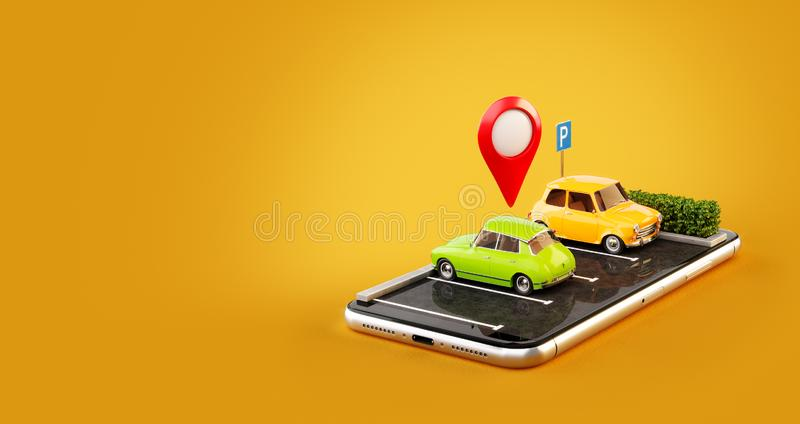 Unusual 3d illustration os smartphone application for online searching free parking place on the map. stock illustration