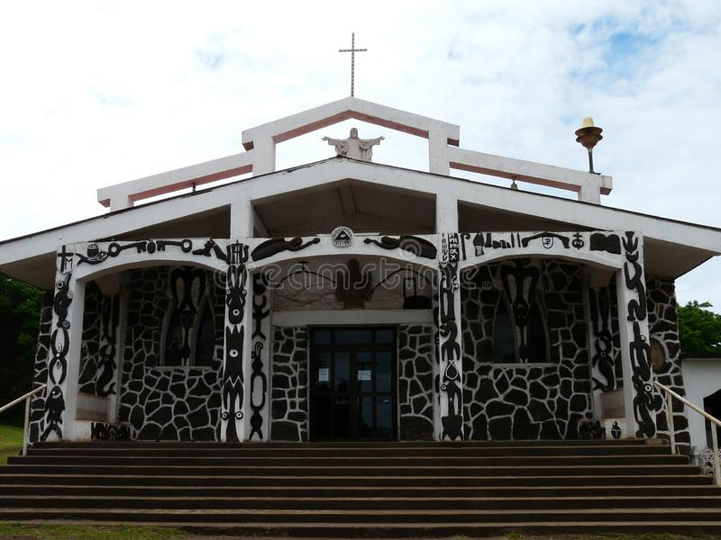 Church in the city of Hanga Roa, Easter Island. Unusual decorated building of the Christian Catholic Church in Hanga Roa, the capital of Easter Island. The stock images