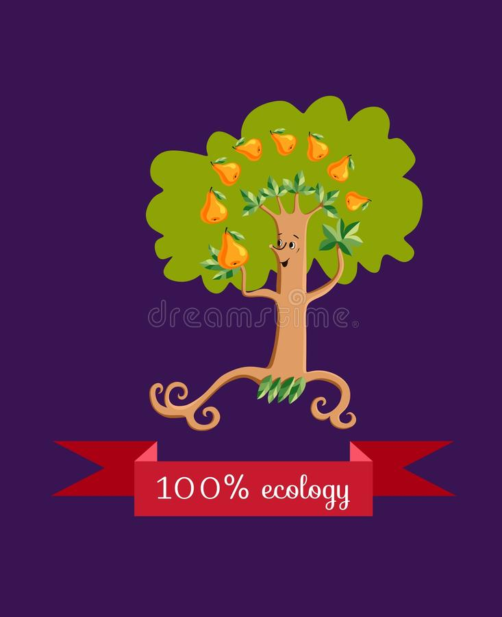 Unusual ecology icon. Merry fabulous pear tree, juggling fruit on dark lilac background. royalty free illustration