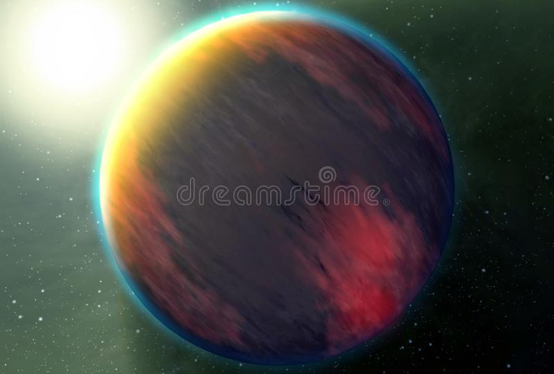 Unusual exoplanet of red color with the sun in the corner.  Elements of this image were furnished by NASA royalty free stock photography