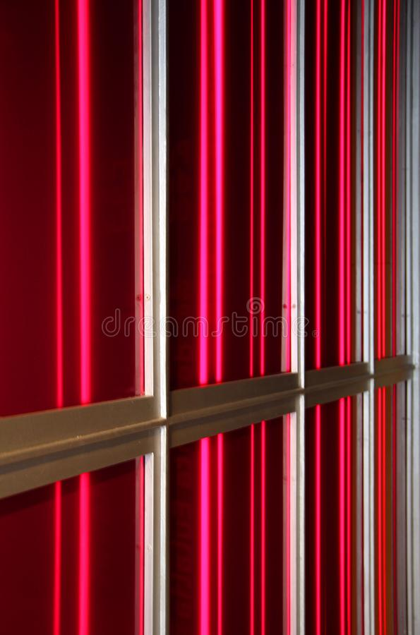 Unusual geometric architectural feature made of aluminum strip a royalty free stock photo