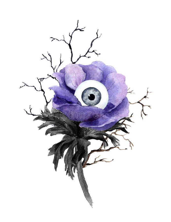 Free Unusual Halloween Design - Weird Flower With Eye, Branches. Watercolor Royalty Free Stock Images - 162287269
