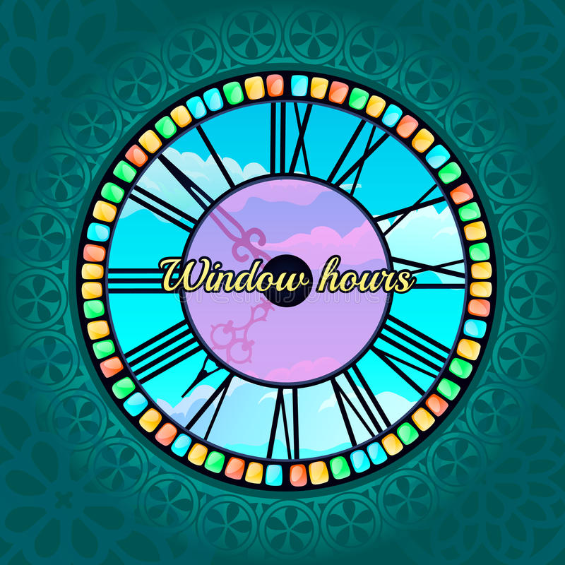 Unusual hours-window and view of the sky outside. Unusual hours-window in the mandala pattern framing and view of the sky outside royalty free illustration