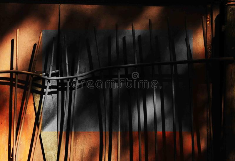 Unusual iron structures, iron walls, metal city. The optimal combination of color and monochrom, there are separate areas consisting of such fragments royalty free stock photos