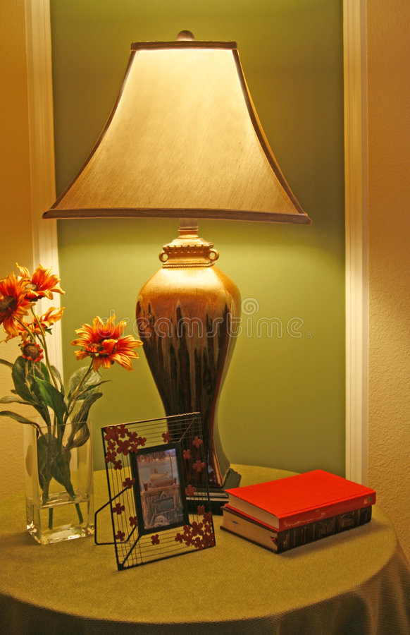 Unusual Lamp On Night Stand Royalty Free Stock Photos