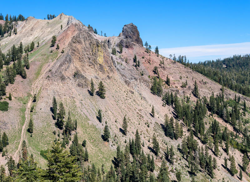 Unusual landscape, Lassen Volcanic National Park. Colorful soils in Lassen Volcanic National Park, California stock images