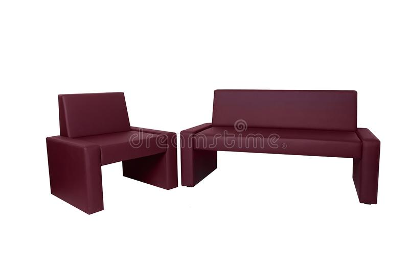 Unusual modern red leather bench and chair isolated on white background. Creative approach to making furniture stock photos