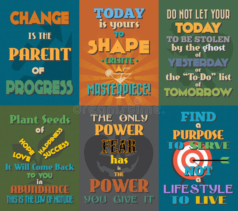 Unusual motivational and inspirational quotes posters. Set 4. Vector illustration stock illustration