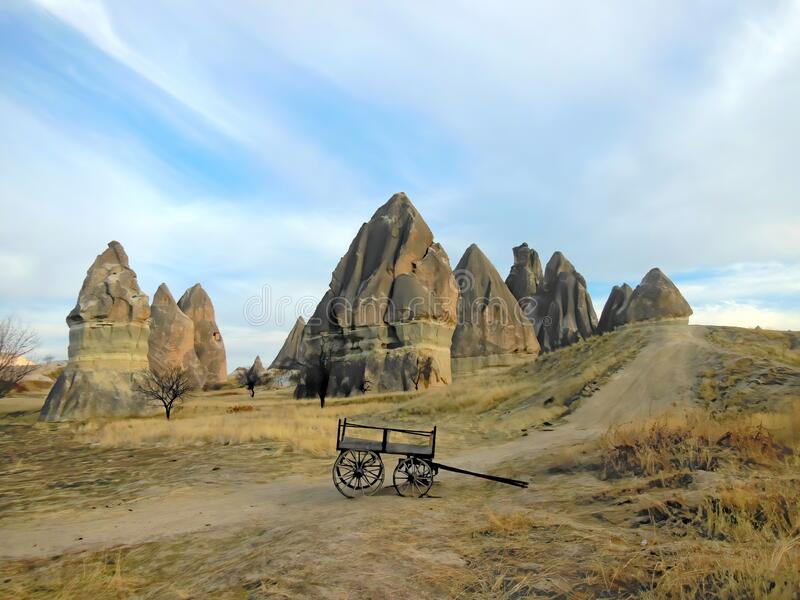 Unusual natural rock formations in Turkey. Unusual natural rock formations and pillars in the Cappadocia region of Turkey stock images
