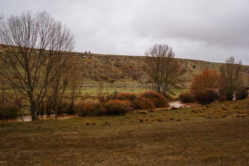 Unusual orange color of the water in the river. Pueblos rojos, Castilla y Leon, Spain royalty free stock photo