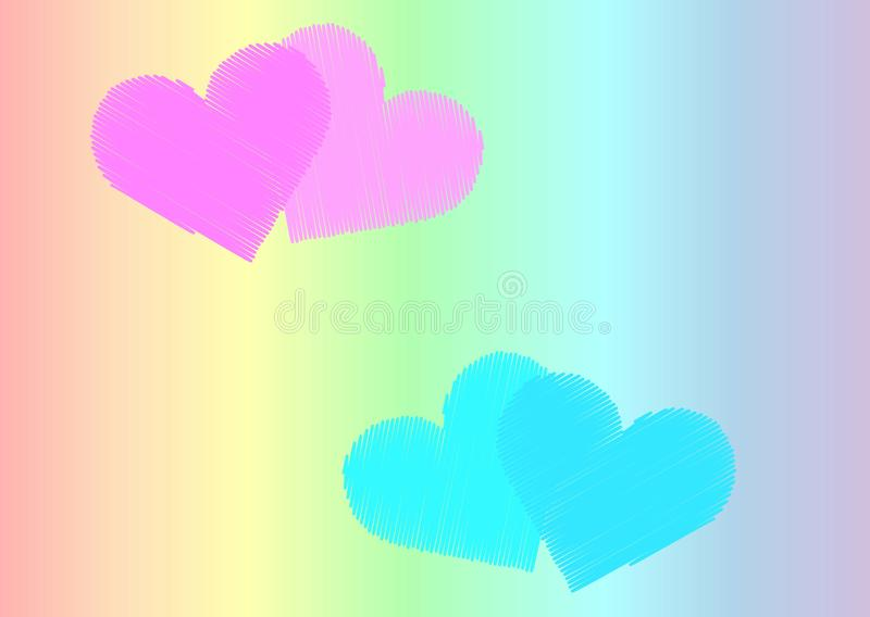 Pink and light blue pairs of hearts on the background of the color of the rainbow stock illustration