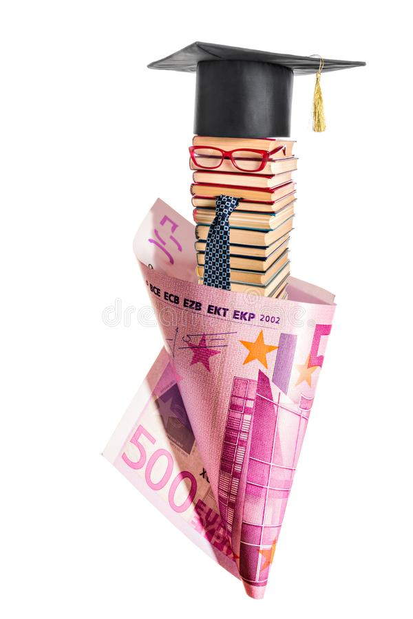 Unusual professor from books wrapped in five hundred euros royalty free stock photography