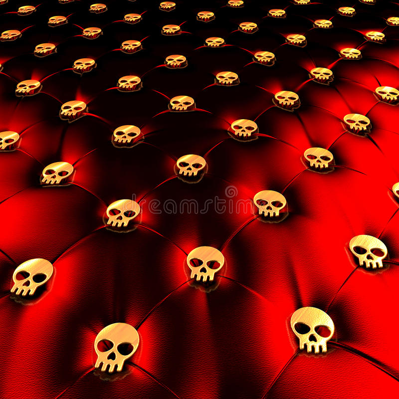 Unusual red leather golden skull design upholstery. Upholstery surface, chesterfield style, material red black leather, knobs golden skulls, 3d rendering royalty free stock photo
