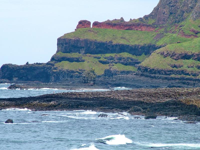 Unusual rock formation at Giant`s Causeway. County Antrim, Northern Ireland royalty free stock images