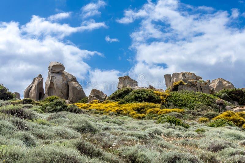 Unusual Rock Formation near the Sea at Capo Testa. Sardinia stock images