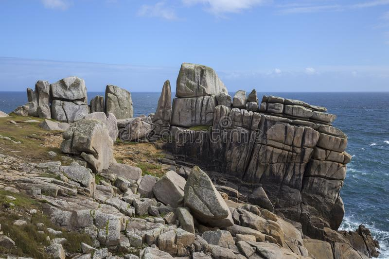 Unusual rock formations, Peninnis Head, St Mary's, Isles of Scilly, England.  stock image