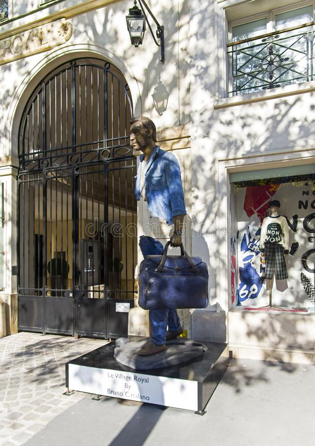 Unusual sculpture in the center of Paris. Paris, France - September 2, 2018: Street exposure of the artworks of Bruno Catalano on the Parisian shopping street Le royalty free stock photos