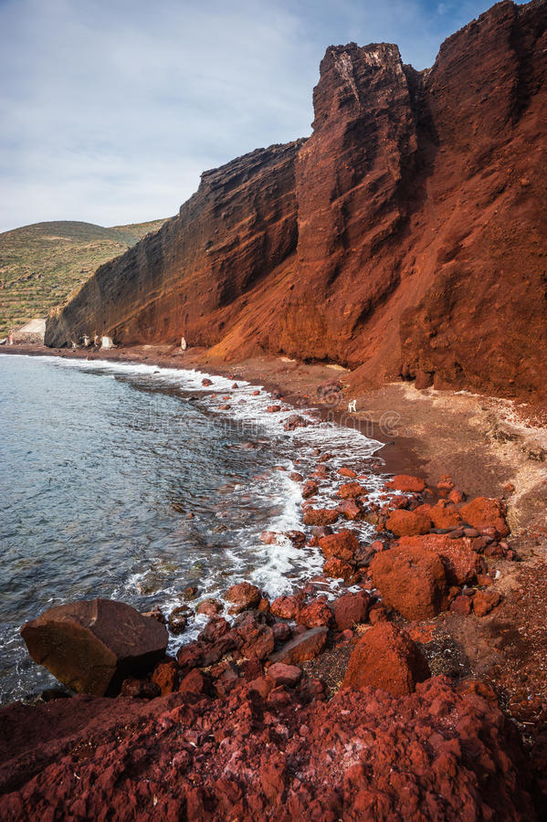 Unusual and unique Red beach on Santorini, Greece. Image of unusual and unique Red beach on Santorini, Greece stock photos