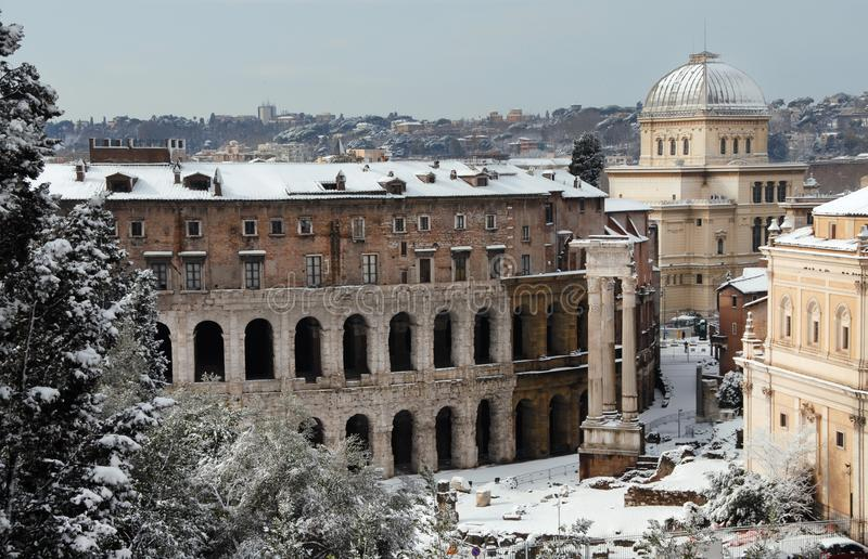 Theater fo marcellus with snow stock photo image of europe unusual view of theater of marcellus ancient ruins covered by snow in the historic center of rome 1st century ad publicscrutiny Images
