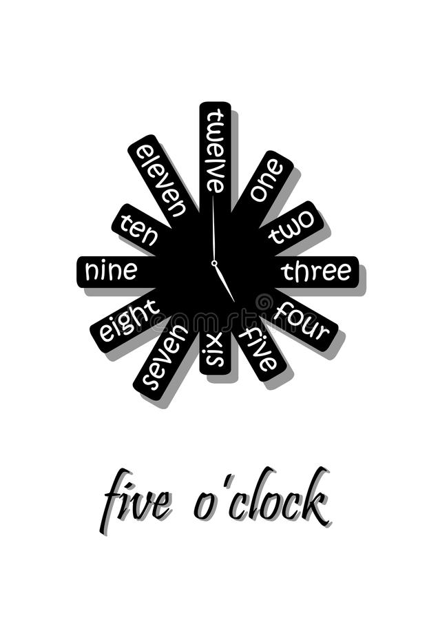 Unusual wall clock shows five o`clock, black and white, isolated on white background, vertical vector stock illustration