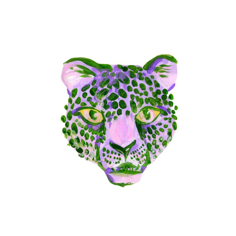 Unusual watercolor jaguar muzzle isolated on white background royalty free illustration