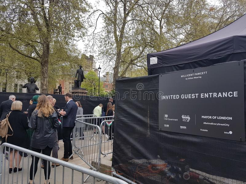The unveiling of suffragist`s statue in Parliament Square, London. Statue of suffragist campaigner Millicent Fawcett, created by Turner Prize winner Gillian royalty free stock photo