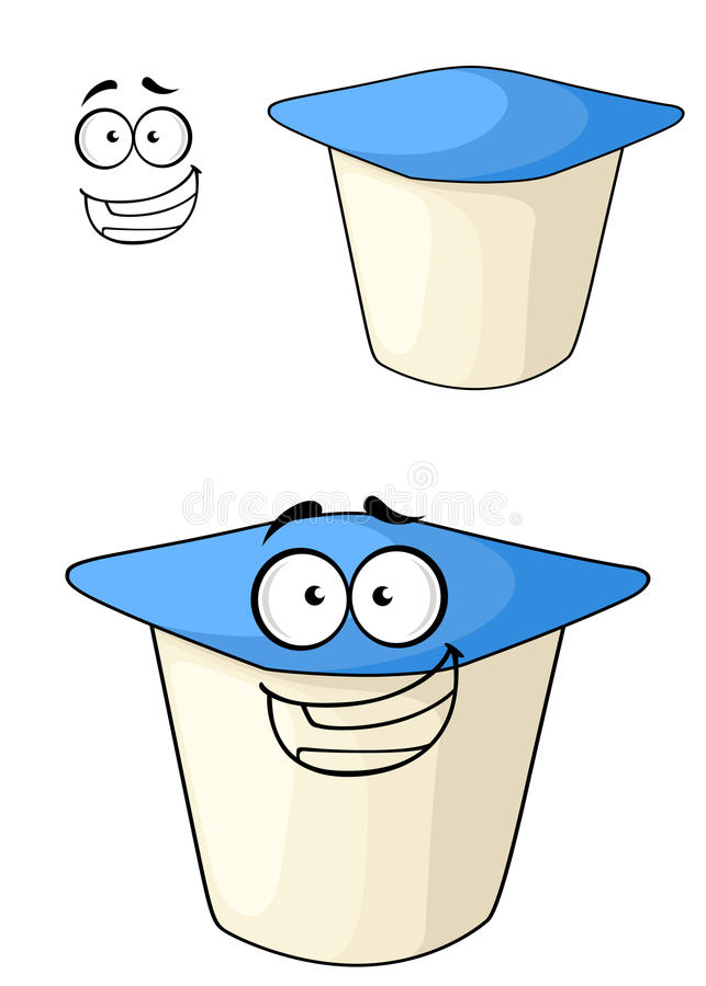 Unverschämter Karikaturjoghurt mit einem glücklichen Lächeln vektor abbildung