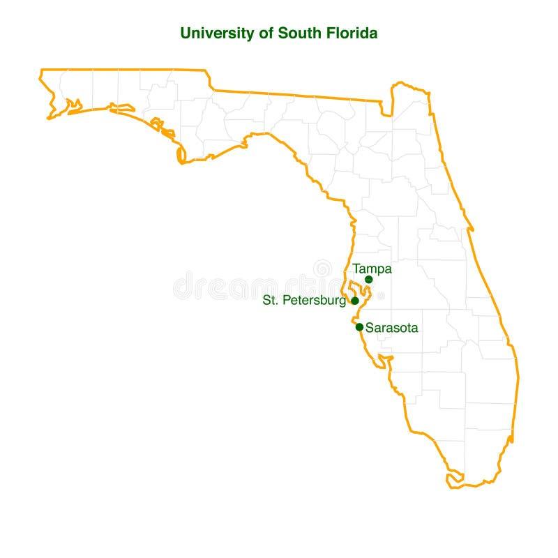unversity av södra fil för vektor för florida 3 universitetsområdeöversikt vektor illustrationer