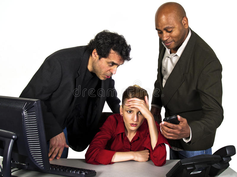 Unwanted advances in the office with white backgro. Und stock photos