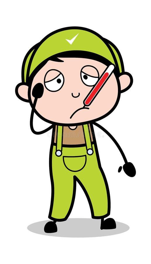Unwohl - Retro- Schlosser-Cartoon Worker Vector-Illustration stock abbildung