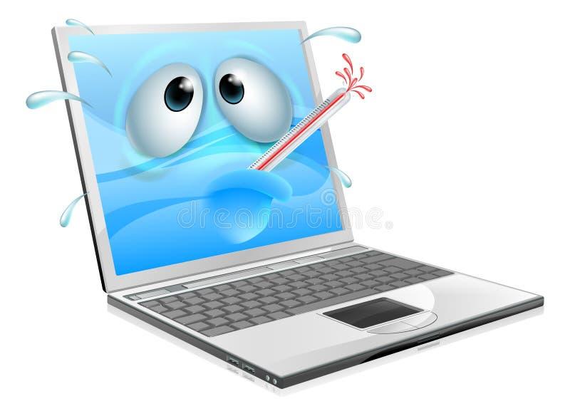 Unwohle Laptop-Computer Viruskarikatur lizenzfreie abbildung