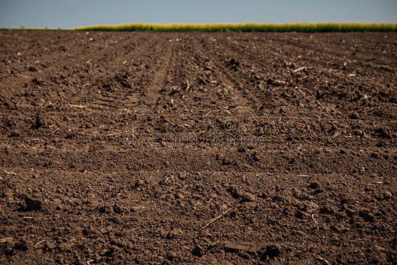 Unworked land, fält Smutstextur Textur för landssmutsfält royaltyfri foto