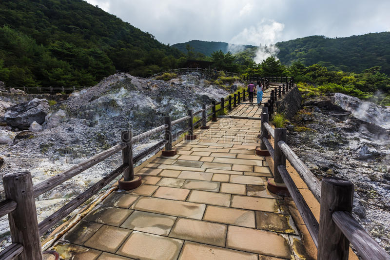 Unzen温泉& Unzen地狱风景在长崎,九州 图库摄影