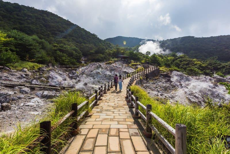 Unzen温泉& Unzen地狱风景在长崎,九州 库存照片