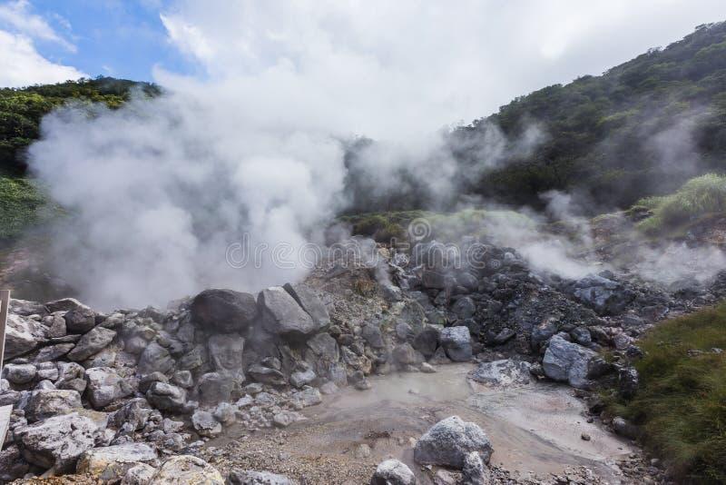Unzen温泉& Unzen地狱风景在长崎,九州 库存图片