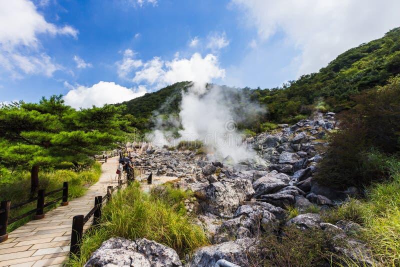 Unzen温泉& Unzen地狱风景在长崎,九州 免版税库存图片