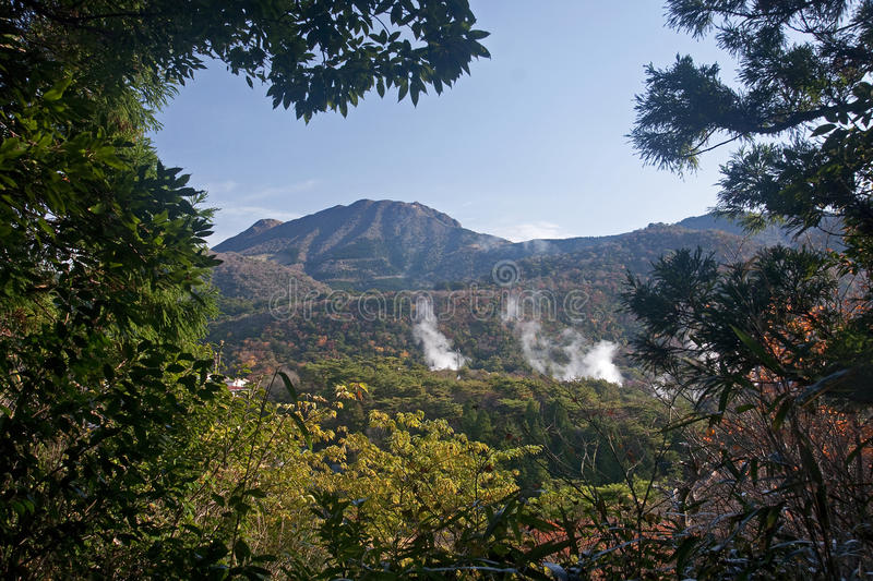 Unzen - geothermal spa royalty free stock photography