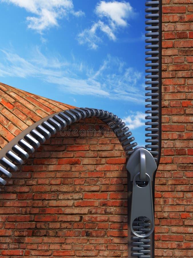 Download Unzip brick wall stock illustration. Image of doorway - 4251094